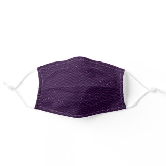 Deep Plum TwoToned Chevron with Tiny Dots Adult Cloth Face Mask