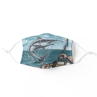 Deep Sea Fishing Retro Poster Design Adult Cloth Face Mask