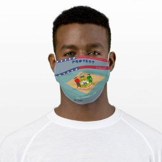 Delaware Flag  w/ Stars Stripes on Cool Grey Adult Cloth Face Mask
