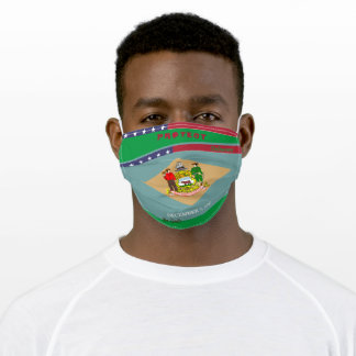Delaware Flag  w/ Stars Stripes on Kelly Green Adult Cloth Face Mask