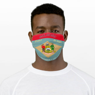 Delaware State Flag on Red Adult Cloth Face Mask