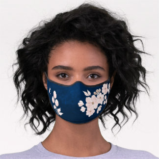 Delicate elegant pink flowers dark blue monogram premium face mask