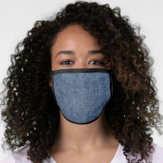 Denim jean realistic fabric texture look face mask