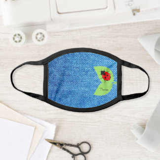 Denim Look  & Ladybugs Cute All-Over Print Face Mask