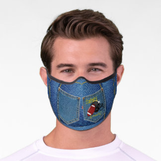Denim Look- Safety Gear& Football 'Safety Counts' Premium Face Mask