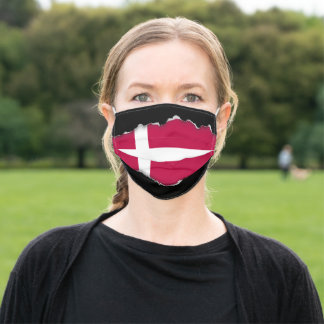 Denmark Flag | Faux Torn Out Look Adult Cloth Adult Cloth Face Mask