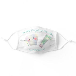 Dentist Office Teeth Toothpaste Name Typography Adult Cloth Face Mask