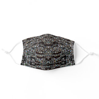Diamond sparkly pattern silver and black adult cloth face mask
