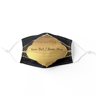 Diamonds Gold Crown - Princess - Add Your Name - Adult Cloth Face Mask