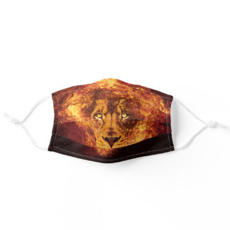 Digital Art Red Orange Black Flaming Lion of Judah Adult Cloth Face Mask