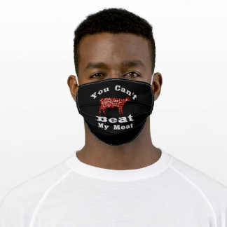 Distressed BBQ Grilling Barbecue Meat Beef Steak Adult Cloth Face Mask