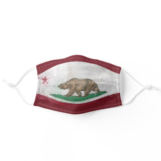 Distressed California Flag Adult Cloth Face Mask