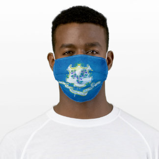 Distressed Connecticut State Flag Adult Cloth Face Mask
