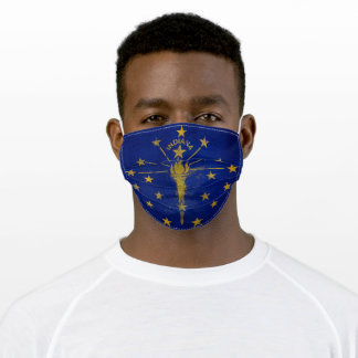 Distressed Indiana State Flag Adult Cloth Face Mask
