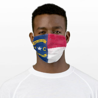 Distressed North Carolina State Flag Adult Cloth Face Mask