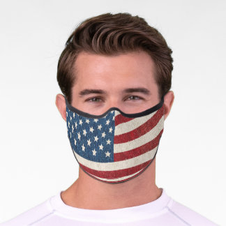 Distressed Red White Blue American Flag Premium Face Mask