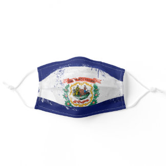 Distressed West Virginia Flag Adult Cloth Face Mask