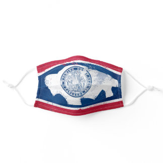Distressed Wyoming State Flag Adult Cloth Face Mask