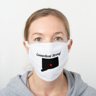 DIY Colors Connecticut State Map Movable Heart White Cotton Face Mask