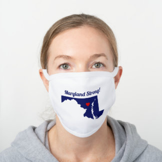 DIY Colors Maryland State Map Movable Heart White Cotton Face Mask