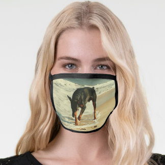 Doberman at the Beach Painting Image Face Mask