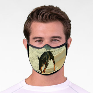 Doberman at the Beach Painting Image Premium Face Mask