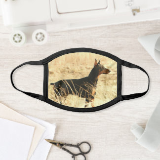 Doberman in Dry Reeds Painting Image Face Mask