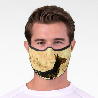 Doberman in Dry Reeds Painting Image Premium Face Mask