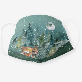 Doe and Fawn Deer in Forest Full Moon Snowfall Adult Cloth Face Mask