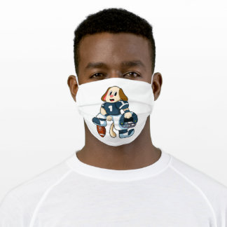 Dog at Sports with Football & Jersey Adult Cloth Face Mask
