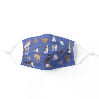 Dog Lover Breeds Print Cute Pattern Animal Adult Cloth Face Mask