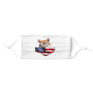 Dog Lover Gift| Akita Dog America Flag Independce Adult Cloth Face Mask