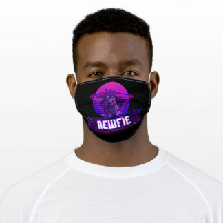 Dog Lovers | Retro 80s Vaporwave Newfie Adult Cloth Face Mask
