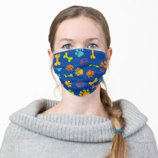 Dog Paw Pattern Navy Adult Cloth Face Mask