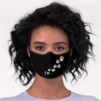 Dog Paws Snow Pattern On Solid Black Background Premium Face Mask