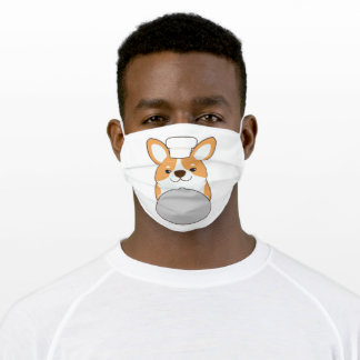 Dog puppy as Cook with Platter Adult Cloth Face Mask