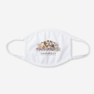 Dogs Cats Flowers Covid 19 White Cotton Face Mask