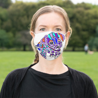 Dogs Dog Puppy Jack Russell Parson Fun Colorful Adult Cloth Face Mask