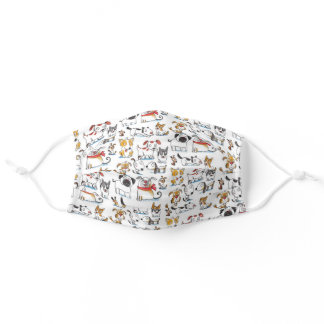 dogs doodle adult cloth face mask