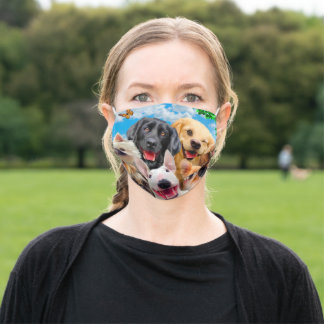 Dogs take group selfie adult cloth face mask