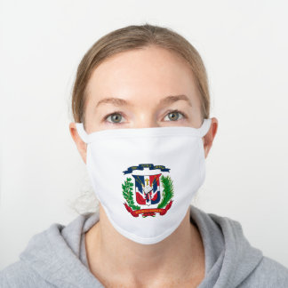 Dominican coat of arms white cotton face mask