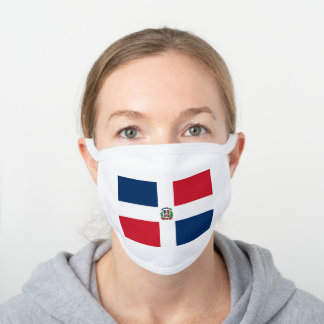 Dominican flag white cotton face mask