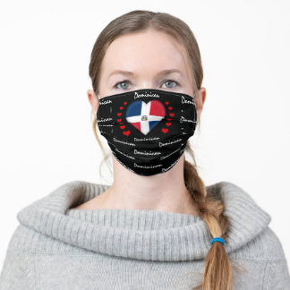 Dominican Republic & Heart, Flag fashion /sports Adult Cloth Face Mask