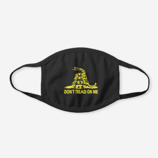 Don't Tread on Me in Gold Black Cotton Face Mask