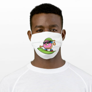 Donut at Snowboarding with Snowboard Adult Cloth Face Mask