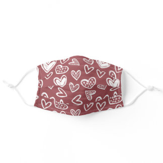 Doodle Hearts Sketch on Rose Red Cocoa Brown Wine Adult Cloth Face Mask