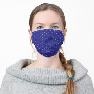 Dotted Cross Stars - Royal Blue White Adult Cloth Face Mask