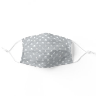 Dove Gray and White Skull and Crossbones Pattern Adult Cloth Face Mask