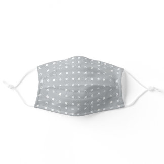 Dove Gray White Handwritten XOXO Pattern Adult Cloth Face Mask