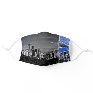 Downtown Seattle Blue Grey Collage Adult Cloth Face Mask